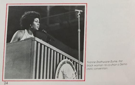 Yvonne Brathwaite Burke had to remove her jacket while presiding over the 1972 Democratic