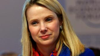 "Yahoo CEO Marissa Mayer smiles before the session ""In Tech We Trust"" in the Swiss mountain resort of Davos January 22, 2015. More than 1,500 business leaders and 40 heads of state or government attend the Jan. 21-24 meeting of the World Economic Forum (WEF) to network and discuss big themes, from the price of oil to the future of the Internet. This year they are meeting in the midst of upheaval, with security forces on heightened alert after attacks in Paris, the European Central Bank considering a radical government bond-buying programme and the safe-haven Swiss franc rocketing.                                          REUTERS/Ruben Sprich (SWITZERLAND  - Tags: BUSINESS POLITICS)"