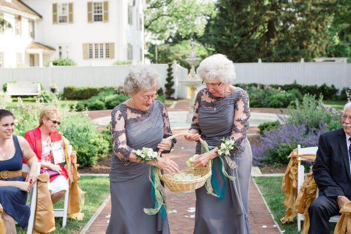 """We thought that it would be so much fun to have our grandmothers be our flower girls,"" Maggie said."