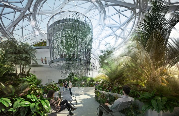 An architect's rendering of one of Amazon's biospheres, set to open in 2018.
