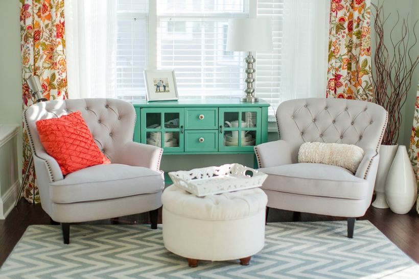 Use coral and mint green as accents against a neutral background.