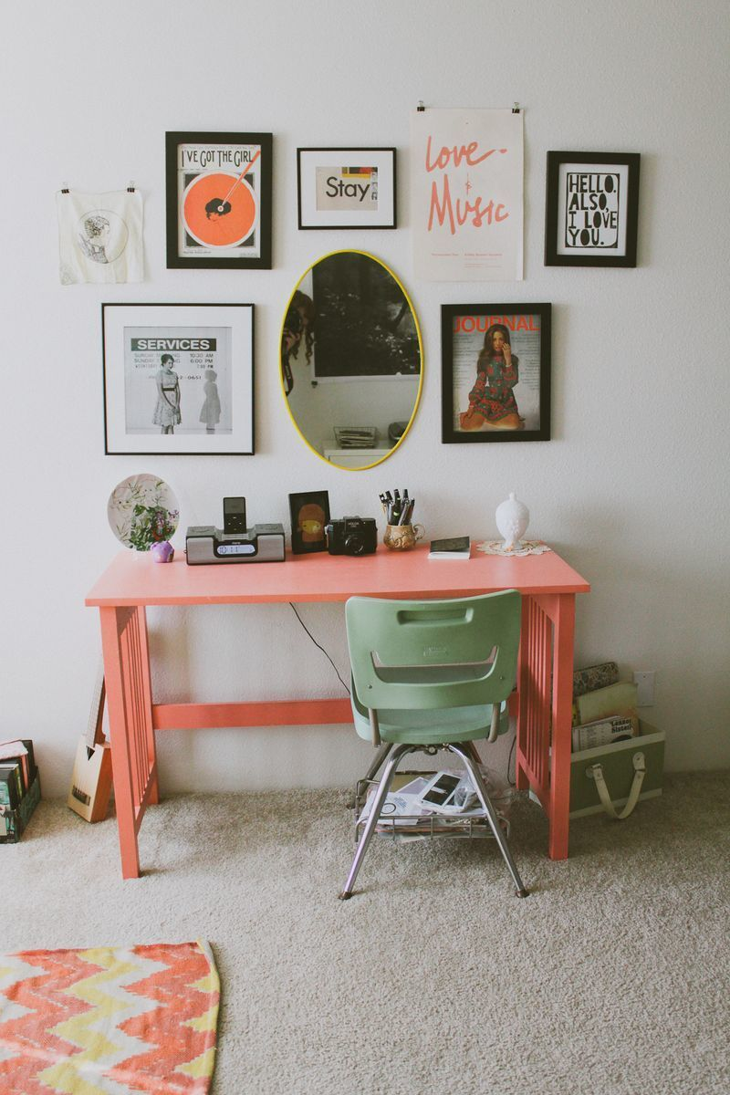 A writing desk gets amped up in coral.