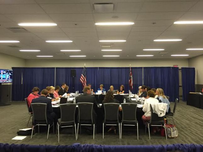 The GOP platform subcommittee on health care, education and crime meets in Cleveland.