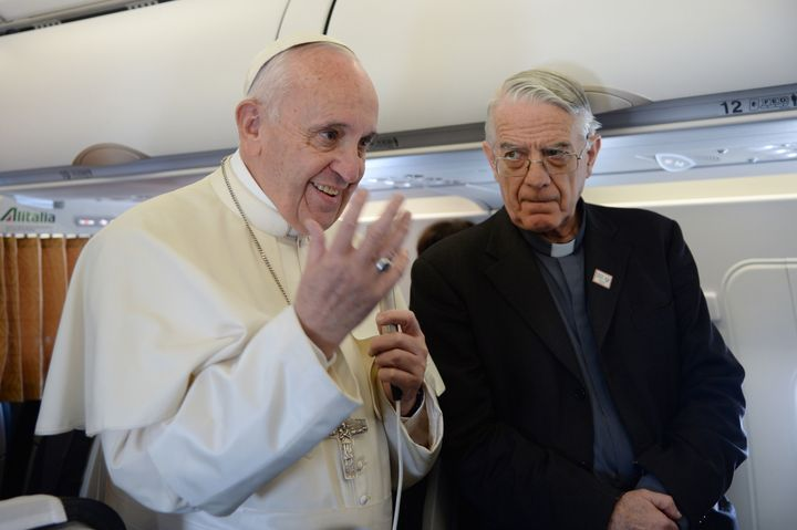 Father Federico Lombardi, right, will step down after serving as Holy See spokesman for the past 10 years.