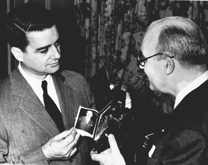 Dr. Edwin Land, left, inventor of the Polaroid Land camera.