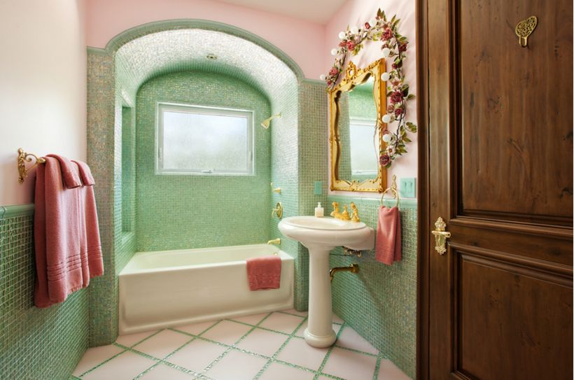Mint tile is punctuated with coral and gold accents.
