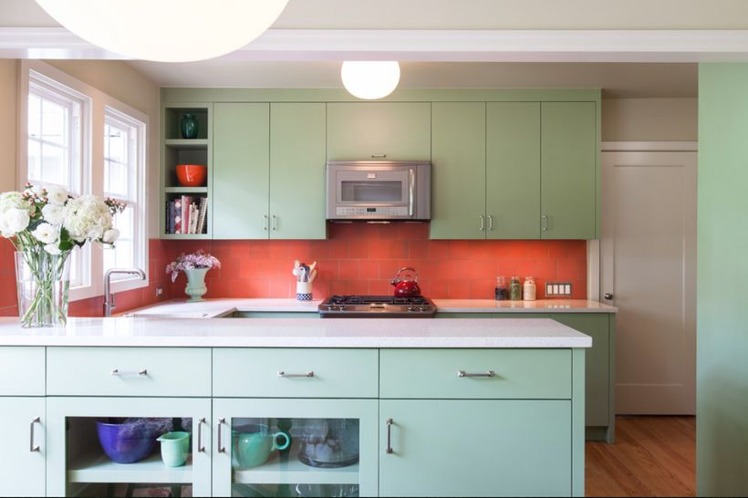 Mint green is a classic color for older kitchens.