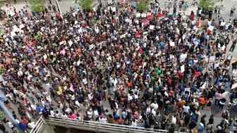 ATLANTA, GA - JULY 08:  Protesters march during the rally for Justice at Centennial Olympic Park on July 8, 2016 in Atlanta, Georgia.  (Photo by Prince Williams/WireImage)