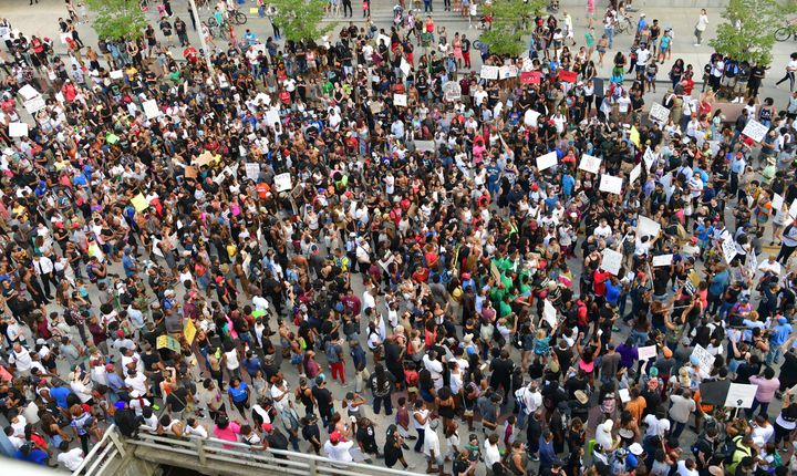 Thousands rallied in Atlanta Friday to speak out against the police violence on black lives.