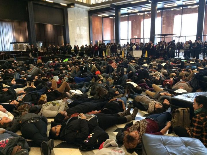 Organized student die-in protest at New York University in fall, 2014.