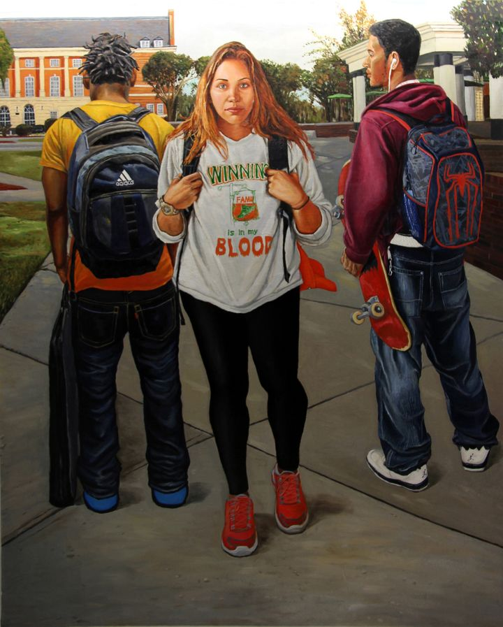 Nan Liu, <i>On Campus: Winning is in my Blood</i>, Oil on canvas, 60 x 72 inches, 2013