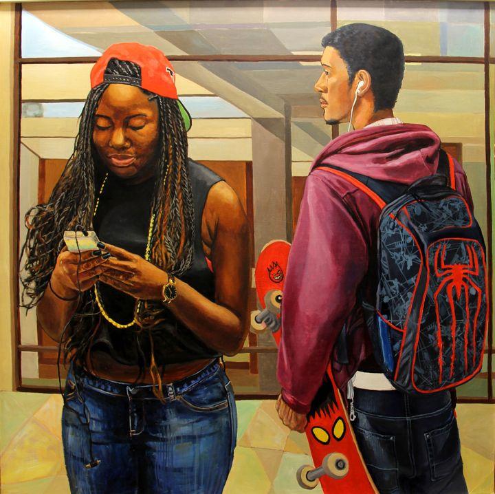 Nan Liu, <i>Texting</i>, Oil on canvas, 60 x 54 inches, 2014