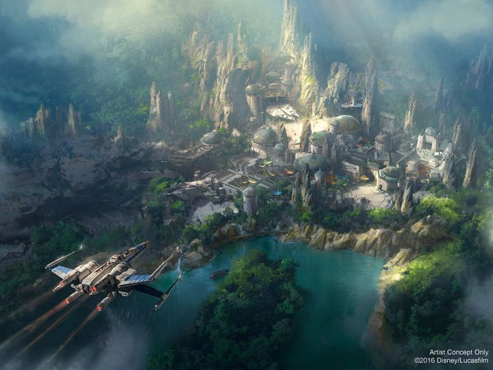 "New concept art shows details of the upcoming ""Star Wars"" themed land at Disneyland."