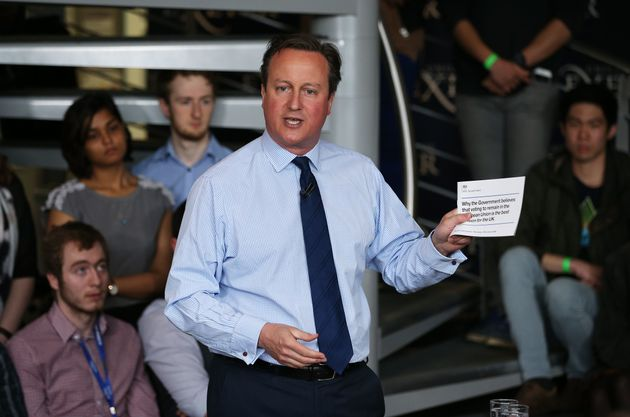 David Cameron pictured speaking to students at a campaign event before the