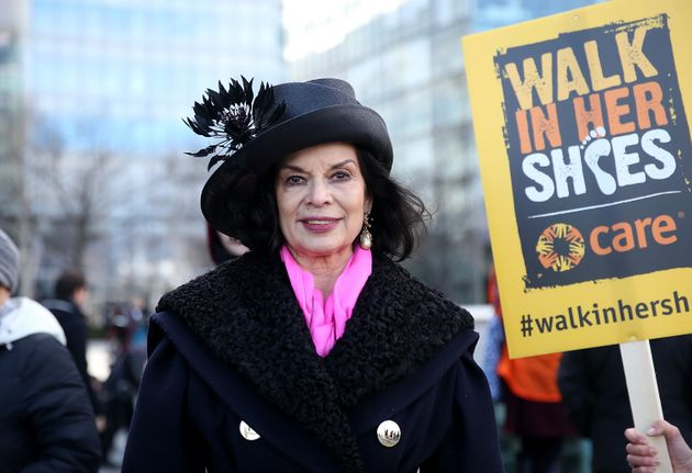 Bianca Jagger lead activists, politicians and 21 century suffragettes to 'Walk In Her Shoes' on March...