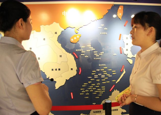 The Nanjing Ocean National Defense Education Museum in China's Jiangsu Province displays a 3D map of...
