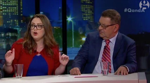 "Van Badham and Steven Price duke it out on ABC's ""Q&A."""