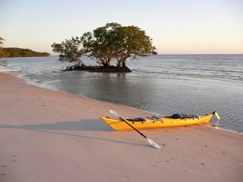 a kayak on the shore of a beach in Everglades National Park