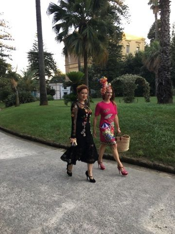 Actress Jennifer Tilly and author arriving at Villa Pignatelli for Alta Gioielleria