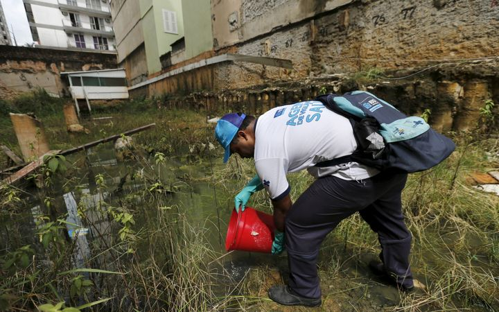 A health agent releases guppy fish, which are used to consume larva of Zika-transmitting mosquito, in a wasteland near a cons