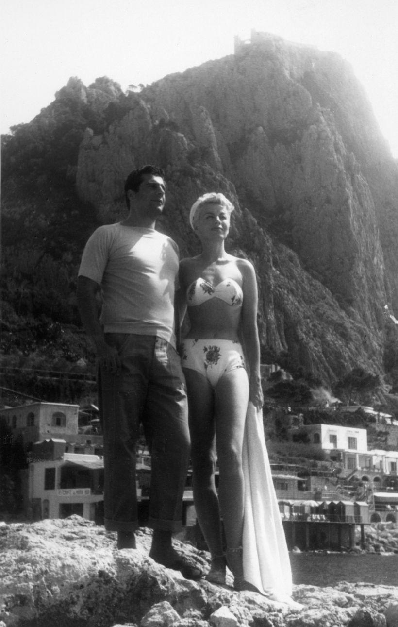 Burlesque Queen Lili St. Cyr on her honeymoon in Capri with restauranteur Armando Orsini.