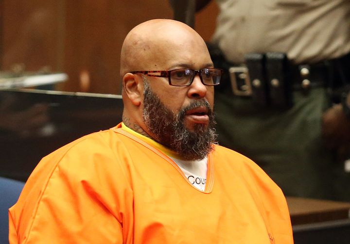 """Marion """"Suge"""" Knight appears in Los Angeles court for a pretrial hearing in January."""