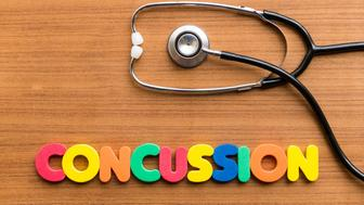 CONCUSSION colorful word on the wooden background