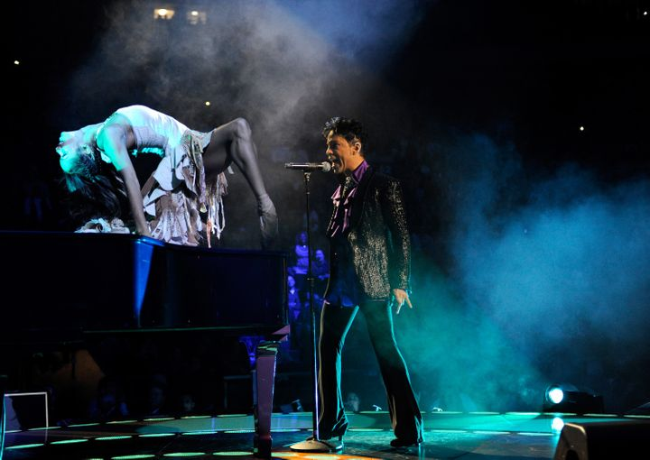 """Prince performs with Misty Copeland during the """"Welcome 2 America"""" tour on Dec. 29, 2010, in New York City."""