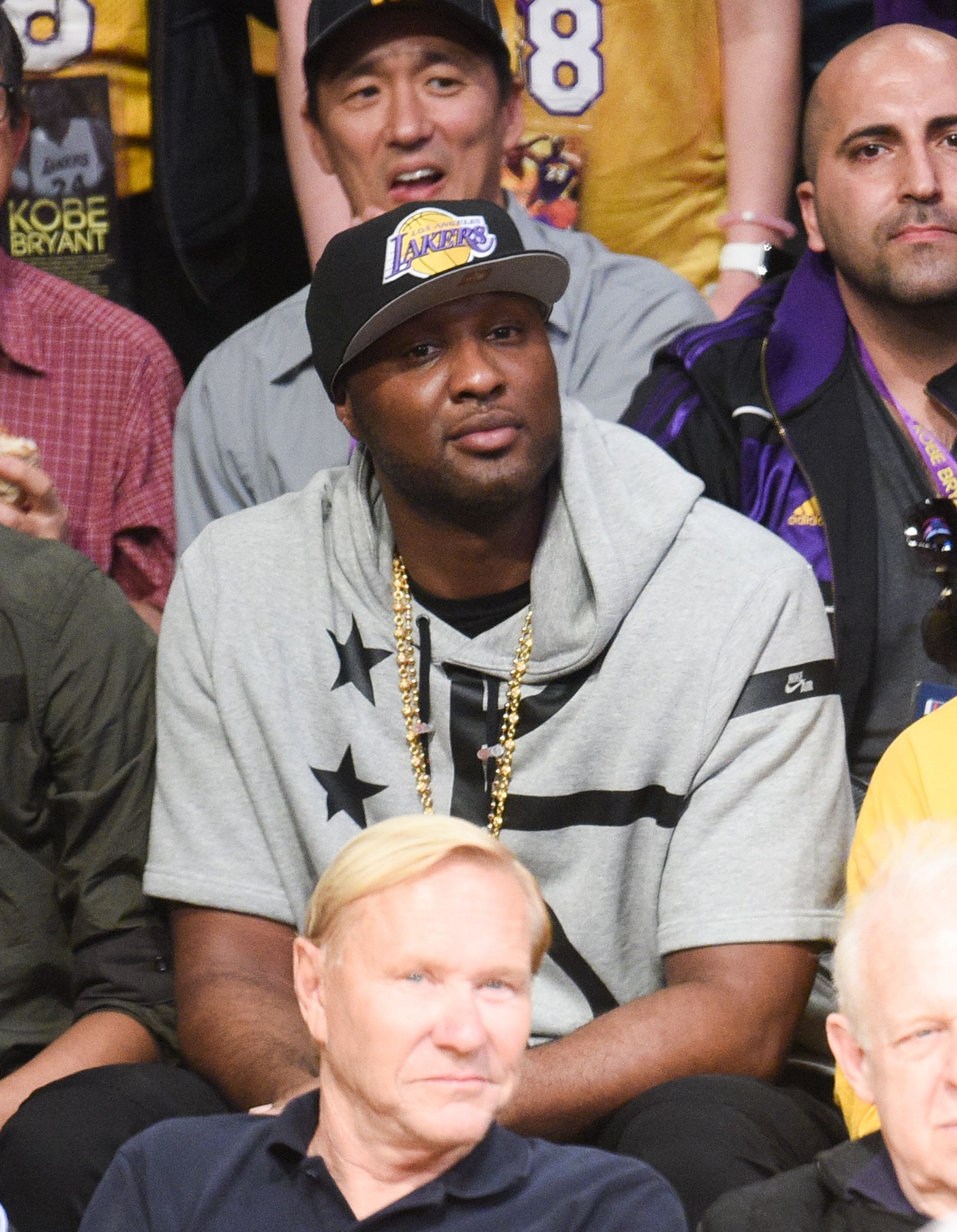 LOS ANGELES, CA - APRIL 13:  Lamar Odom attends a basketball game between the Utah Jazz and the Los Angeles Lakers at Staples Center on April 13, 2016 in Los Angeles, California.  (Photo by Noel Vasquez/GC Images)