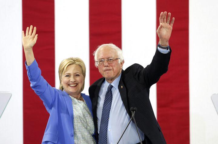 U.S. Senator Bernie Sanders endorses U.S Presidential candidate Hillary Clinton at a campaign event in Portsmouth, N.H., July 12, 2016.
