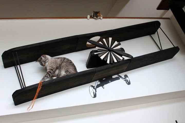 """<a href=""""http://www.catastrophicreations.com/product/feline-biplane-wall-decal/"""" target=""""_blank"""">Feline Biplane With Wall Decal, $489.00</a>"""
