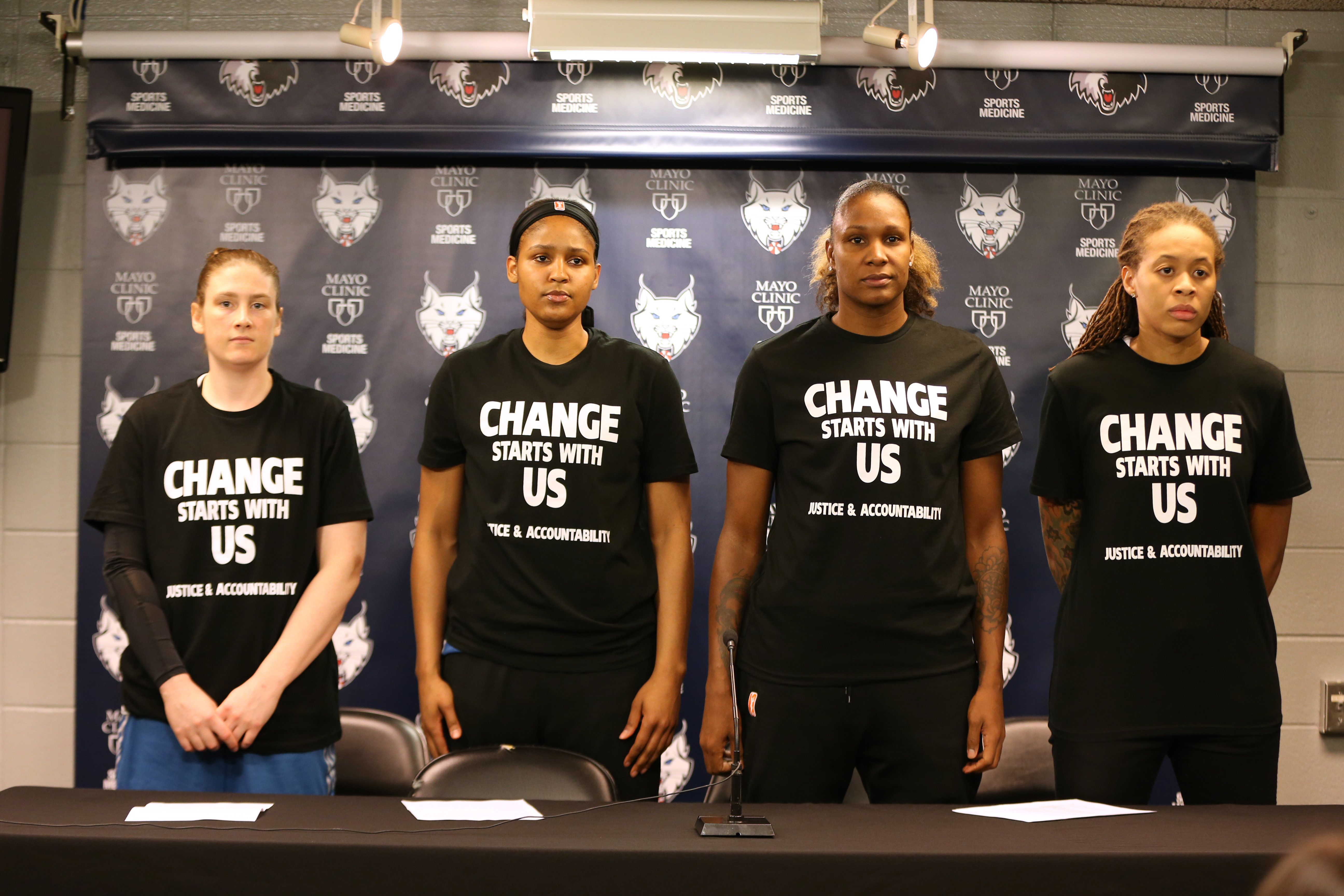 MINNEAPOLIS, MN - JULY 9:  Lindsay Whalen #13, Maya Moore #23, Rebekkah Brunson #32, and Seimone Augustus #33 of the Minnesota Lynx attend a press conference before the game against the Dallas Wings on July 9, 2016 at Target Center in Minneapolis, Minnesota. NOTE TO USER: User expressly acknowledges and agrees that, by downloading and or using this Photograph, user is consenting to the terms and conditions of the Getty Images License Agreement. Mandatory Copyright Notice: Copyright 2016 NBAE (Photo by David Sherman/NBAE via Getty Images)