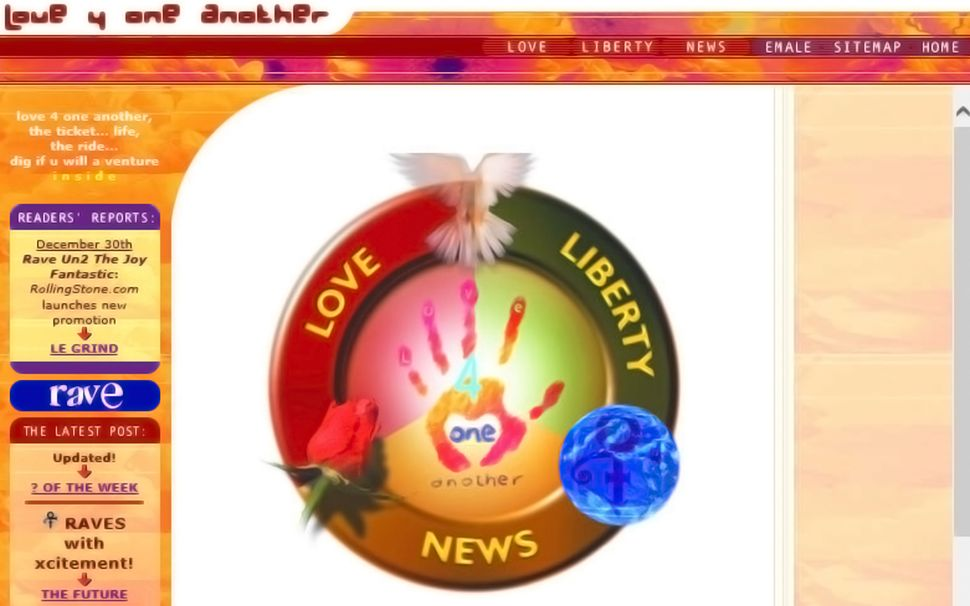 """A screenshot of&nbsp;the site&nbsp;<a href=""""http://princeonlinemuseum.com/timeline/love-4-one-another/"""">Love4OneAnother</a>."""