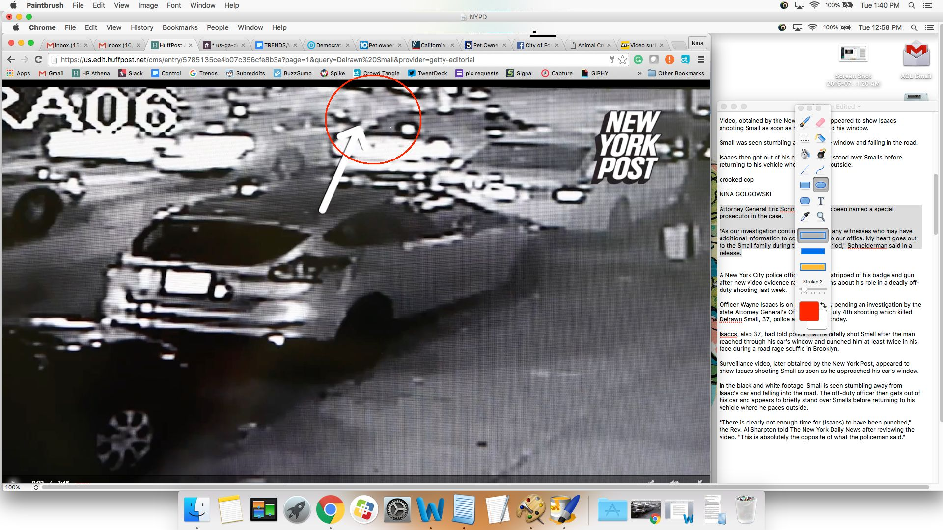 Surveillance video shows Delrawn Small approaching off-duty NYPD Officer Wayne Isaacs outside his car on July 4