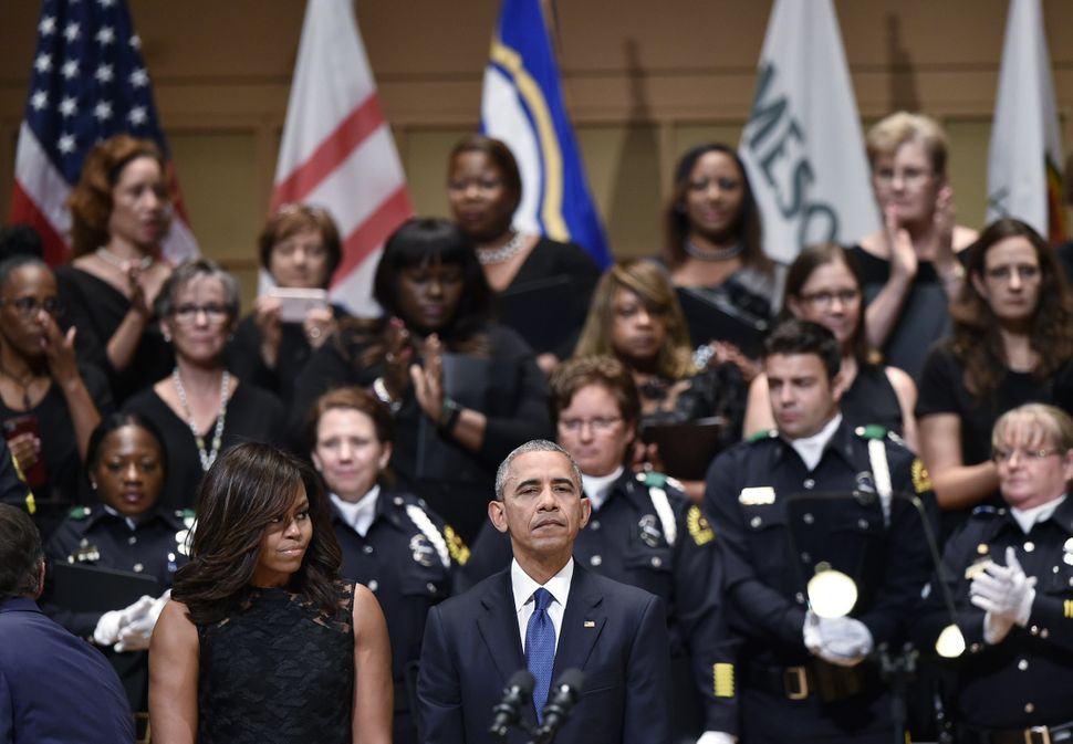 Obama speaks during the service.