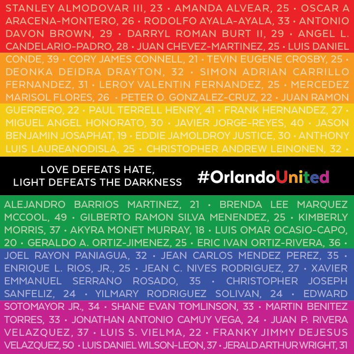 """Victims' Names of the Pulse LGBTQ Nightclub Tragedy, Orlando, Florida, June 12, 2016"""