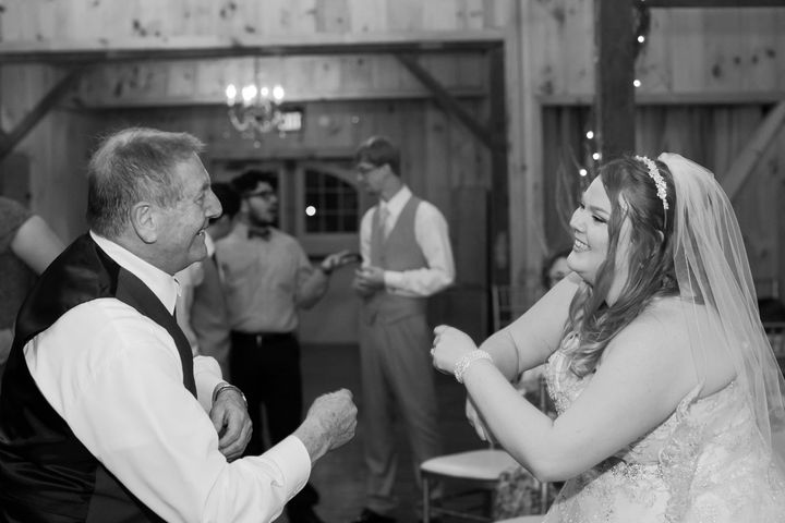 The bride dancing the night away with her grandpa.