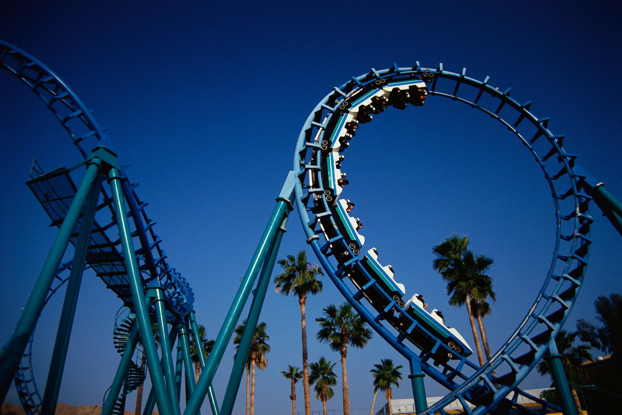 This is the roller coaster at Knott's Berry Farm in Buena Park. This ride is called Montezuma's Revenge.