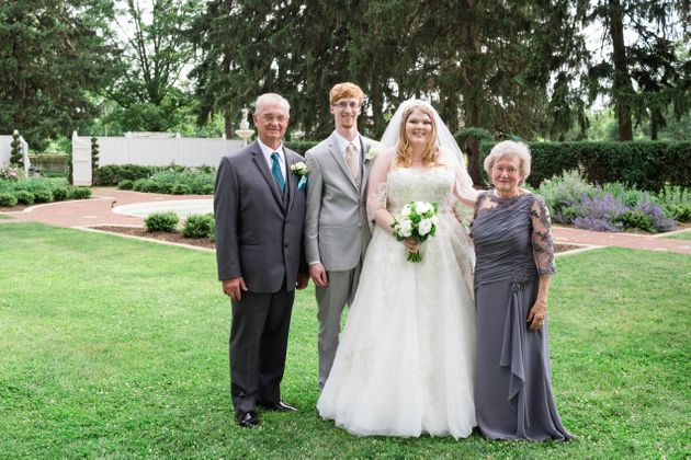 The newlyweds with the groom's grandparents. Josh's grandpa Richard had a part in the wedding...