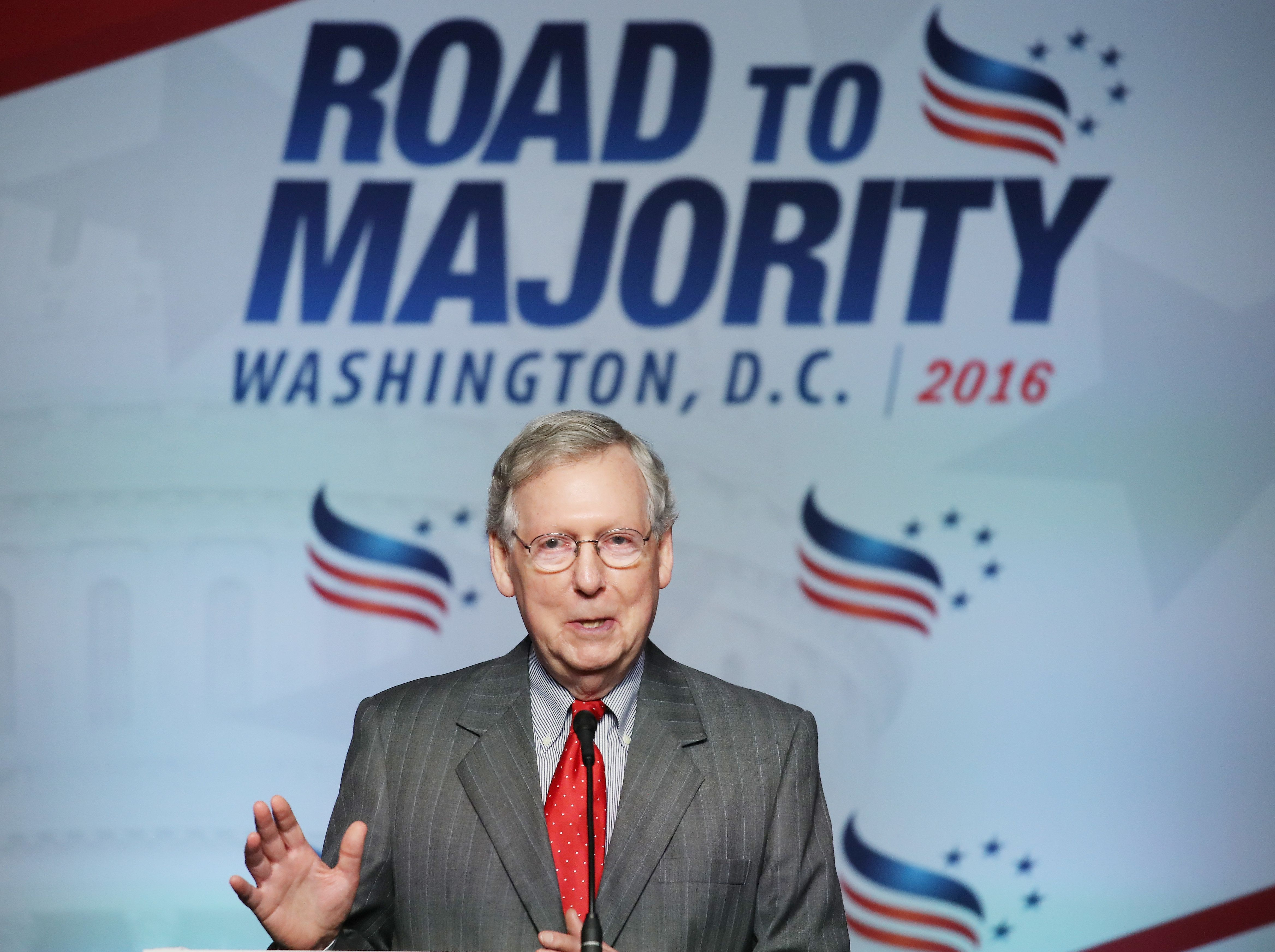 WASHINGTON, DC - JUNE 10:  Senate Majority Leader Mitch McConnell (R-KY), speaks during the Faith and Freedom Forum Coalition's 'Road to Majority' conference on June 10, 2016 in Washington, DC. Donald Trump is also scheduled to speak at the conference. (Photo by Mark Wilson/Getty Images)