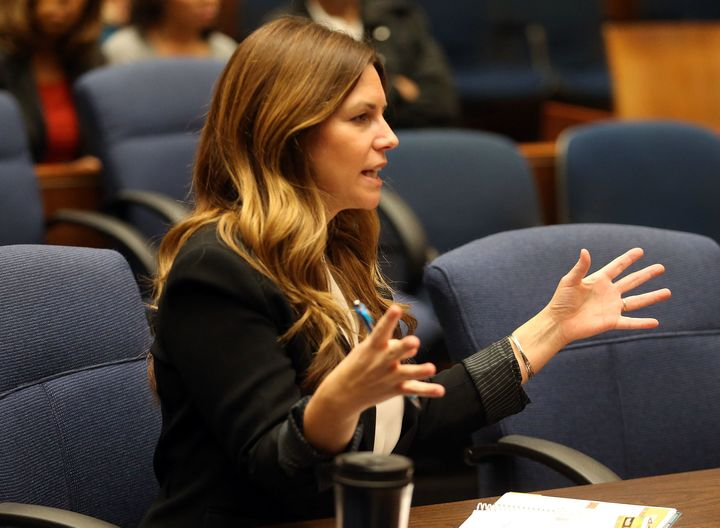 Deputy District Attorney Cynthia Barnes speaks during a pretrial hearing for Suge Knight on Feb. 26, 2016.