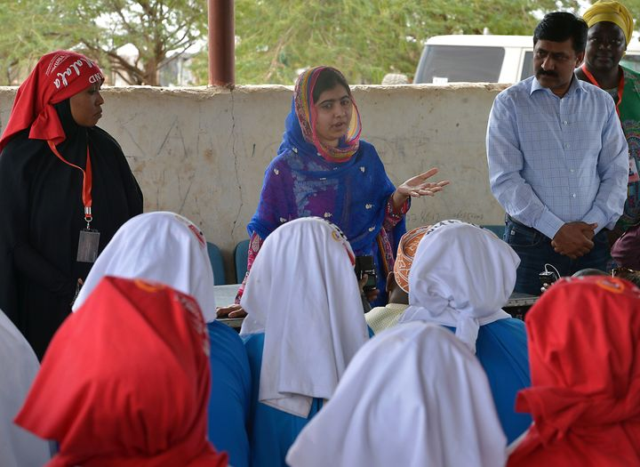Pakistani activist for female education and the youngest-ever Nobel Prize laureate Malala Yousafzai addresses young refugees