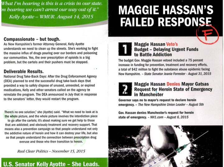 A mailer sent by Ending Spending Action Fund attacking New Hampshire Gov. Maggie Hassan (D).