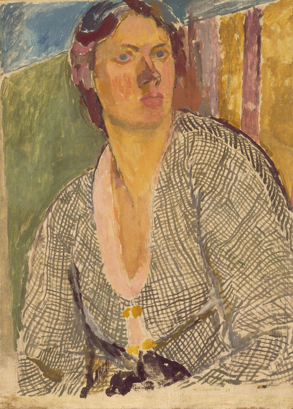 "Vanessa Bell 1879-€""1961, ""Self €""Portrait,"" ca. 1915, Oil on canvas laid on panel, 63.8 x 45.9 cm, Yale Center for British A"