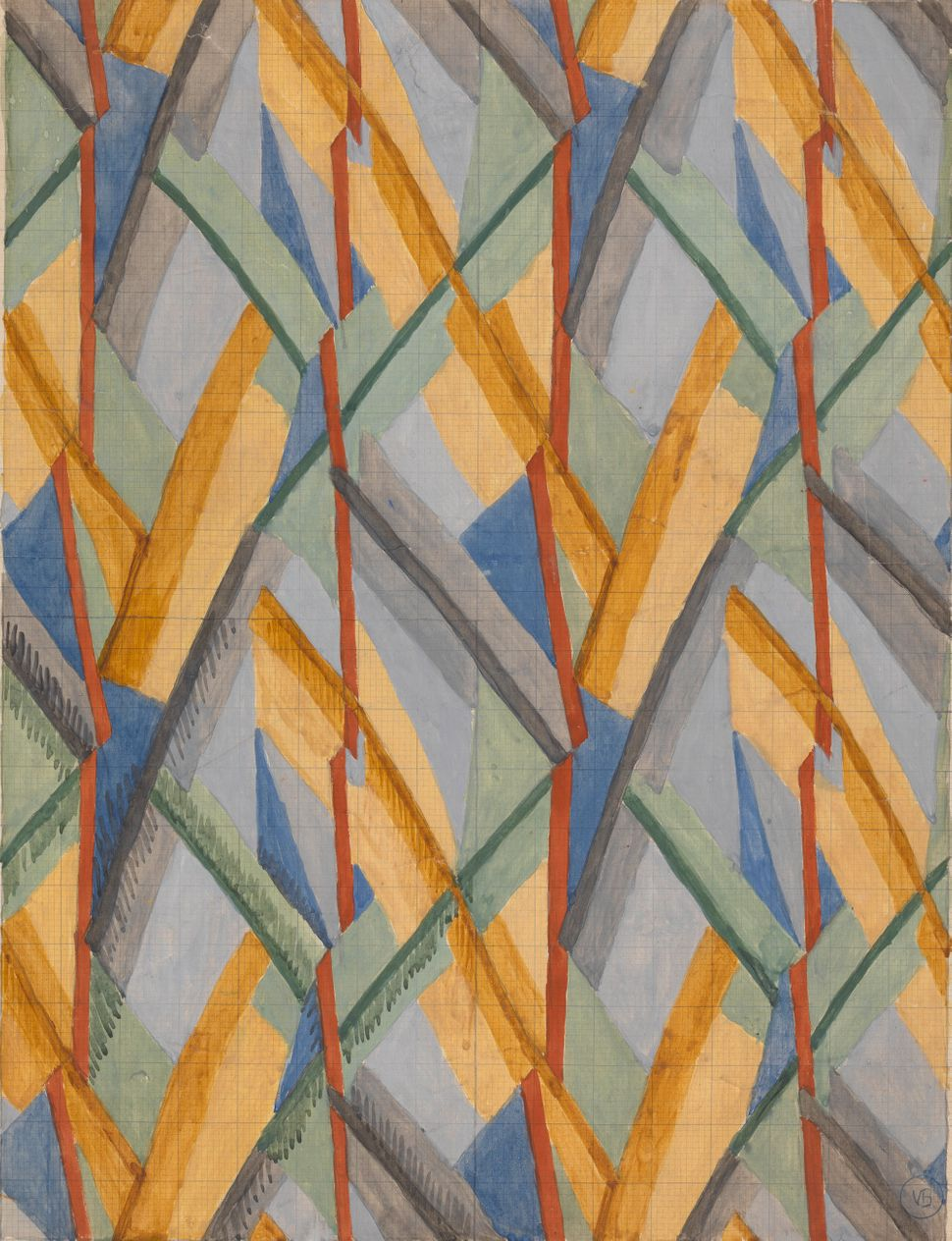 Vanessa Bell 1879–1961, Design for Omega Workshops Fabric, 1913, Watercolor, gouache, and graphite, Yale Center for Bri