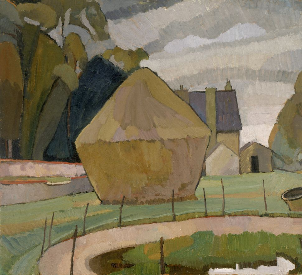 """Landscape with Haystack,"" Asheham, 1912, oil on canvas, board: 60.32 x 65.72 cm, Smith College Museum of Art, Northampton, M"
