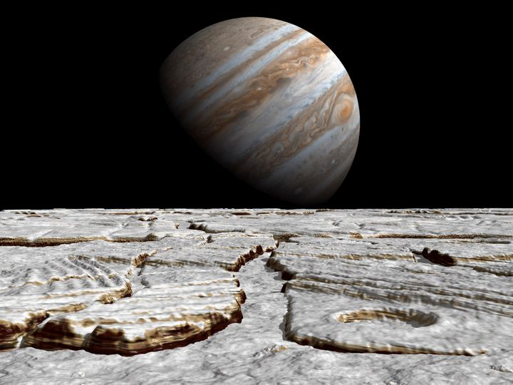 An artist's concept inspired by recent discoveries on Europa of regions that look very much like pack ice on Earth's polar se