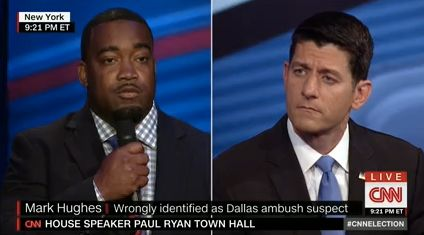 Hughes asking House Speaker Paul Ryan (R-Wis.) a question at Tuesday night's CNN town hall.