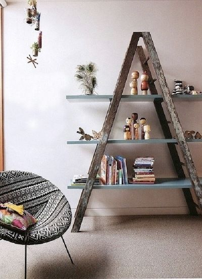 <i>Ladders can be repurposed to hold items normally found in a closet.</i>