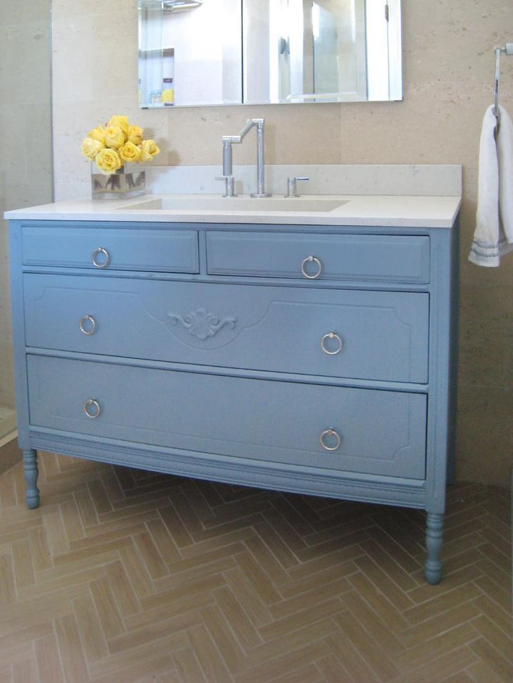 <i>A vintage dresser is used as a new vanity.</i>
